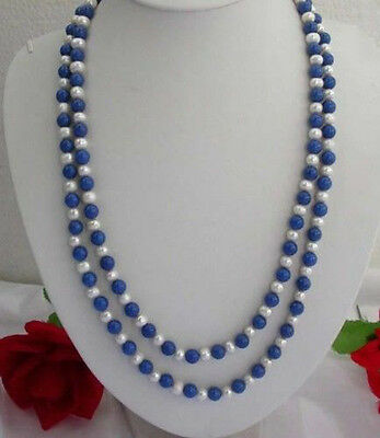 "Long 50"" 7-8MM Natural White Pearl / Lapis Lazuli Gemstones Round Beads Necklace"