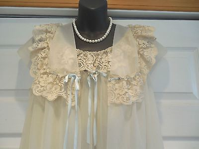 Shadowline Vtg. Butter-Cream Solid/Lace Nylon Bridal Nightgown & Robe Sets S Ex
