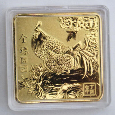 2017 Rooster Year Chinese Zodiac 24k Gold Plated Gold  Medal Coin #10