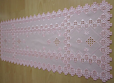 """HARDANGER NEW BEAUTIFUL  HANDCRAFTED tabel runner pink 35"""" x 16"""""""