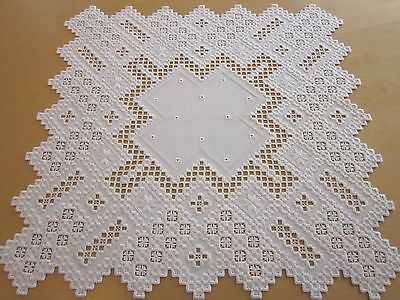 """HARDANGER NEW BEAUTIFUL HANDCRAFTED tabel center psc/ tabel cloth white 20""""x20"""""""
