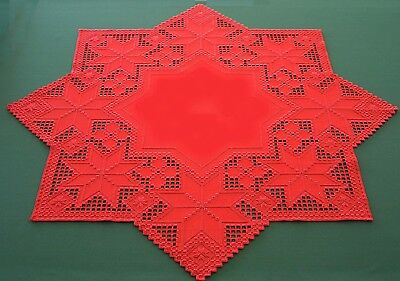 """HARDANGER NEW BEAUTIFUL HANDCRAFTED X-Mas center psc/ star red 24""""x24"""""""