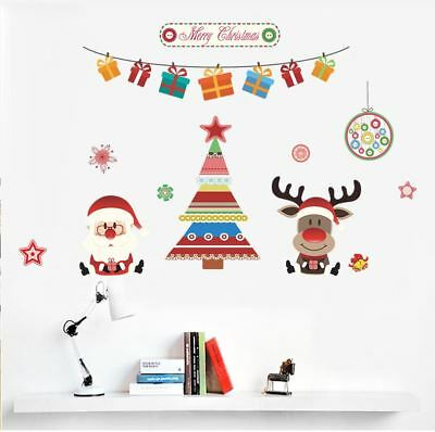 Wall Stickers colourful santa Christmas Xma's PVC decal decor Nursery kids