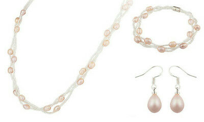 NEW Freshwater Pearl & Glass Bead Necklace, Bracelet & Earring Silver Plated