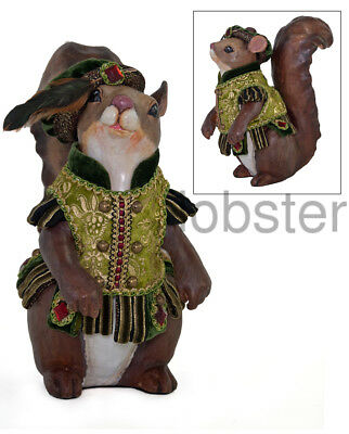 KATHERINE'S COLLECTION TAPESTRY SQUIRREL FIGURINE CHRISTMAS Woodland Bejeweled