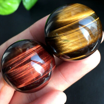 BEST!!! 2pcs NATURAL Yellow Red tiger eye CRYSTAL SPHERE BALL Healing 30.9mm85g