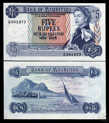 Mauritius 5 Rupees P30 1967 *pair* Queen Boat Bird Unc Rare World Currency Notes