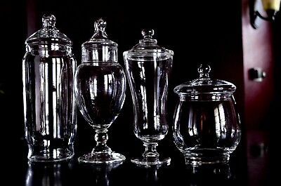 4-Vintage Glass Apothecary Or Candy Jars Wedding Candy Buffet Displays