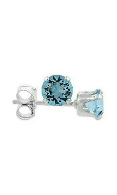 NEW 2.00 CTW Genuine Aquamarine Stud Earrings in Sterling Silver $100