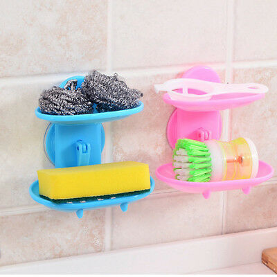 Useful Plastic Two Layer Suction Leachate Durable Soap Holder