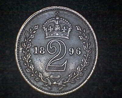1896 Great Britain 2 Pence Km#776 -92.5% Silver #15829