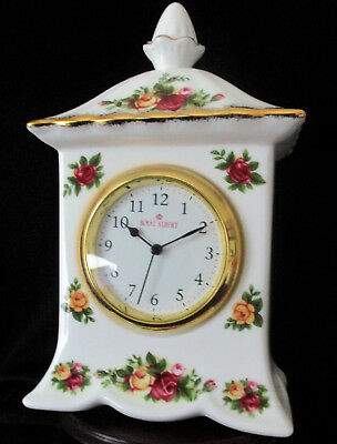 """ROYAL ALBERT   """"Old Country Roses""""   Carriage Mantle Clock   Excellent Condition"""
