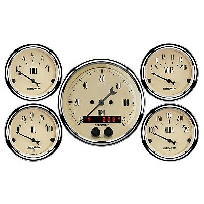 AutoMeter 1850 Antique Beige 5 Gauge Set Fuel/Oil/Speedo/Volt/Water