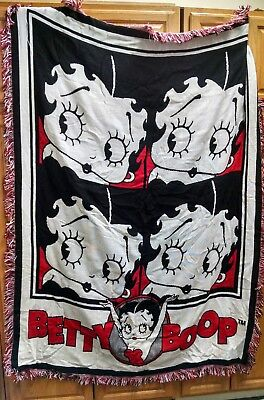 "Betty Boop Fringed Throw 48"" x 69"".  Awesome & MINT!  1994"