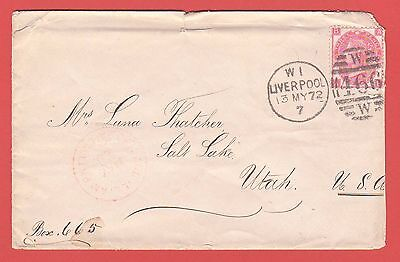GB - 1872 3d ROSE PLATE 7  ON COVER TO USA FROM LIVERPOOL- CANCEL W466 - DAMAGED