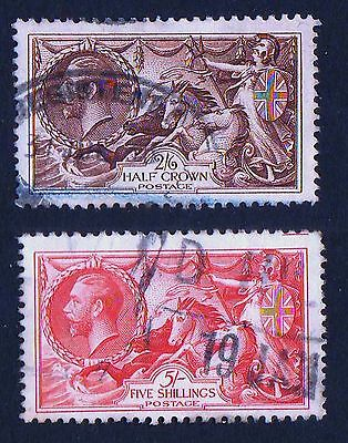 "GREAT BRITAIN- 1934 - KGV - ""SEAHORSES "" RE-ENGRAVED VALUES  2/6d and  5/-  USED"