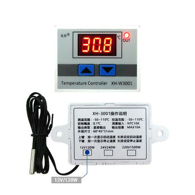 12V Digital LED Temperature Controller 10A Thermostat Control Switch Probe