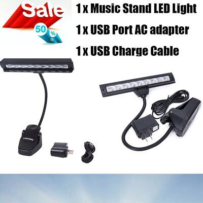 New Led Piano Lamp Orchestra Music Stand Clip-On Light Adapter Usb Charge Cable