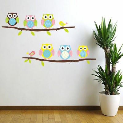 US STOCK Wall Sticker Owls on Branch Kids Nursery Baby Children's Room removable