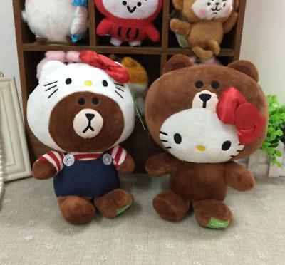 2pcs Hello kitty cosplay bear stuffed plush doll dolls anime new