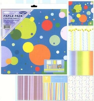 "12"" x 12"" 120gsm scrapbooking papers Birthday Pack 6 different sheets per pack"