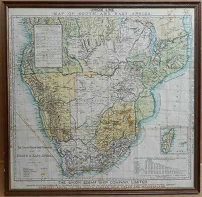Union Line Map South & East Africa. Shortest route to the Gold Fields circa 1890