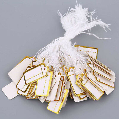 100 pcs Price Tags Tie String Strung Tickets Jewelry Watch Cloth Display Labels