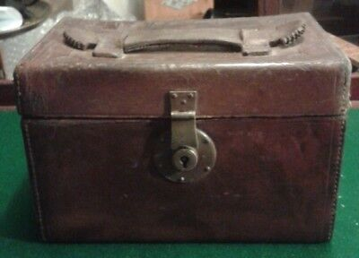 Antique Leather Tackle Box Cartridge Case Fishing Shooting