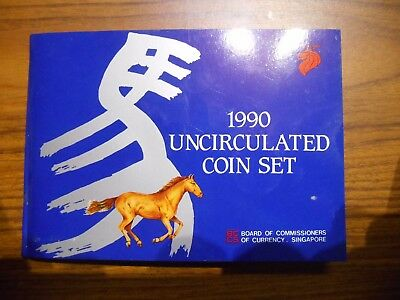 """Singapore 1990 UNCIRCULATED 6 COIN SET IN Folder """" YEAR OF THE HORSE """""""