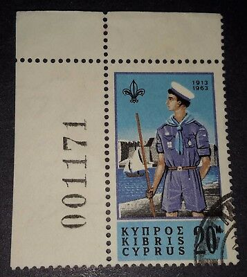 Cyprus Stamp, 1963, 20 mils, Never Hinged, Used RARE
