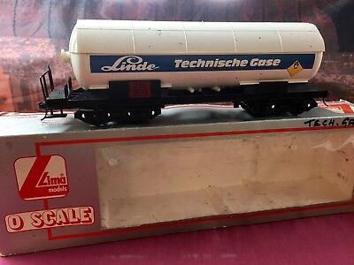 """LIMA O SCALE """"LINDE"""" Technische Gase TANKER WAGON, knuckle couplers"""