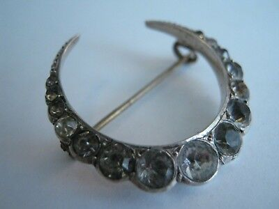 Antique Silver Clear Paste Crescent Moon Brooch