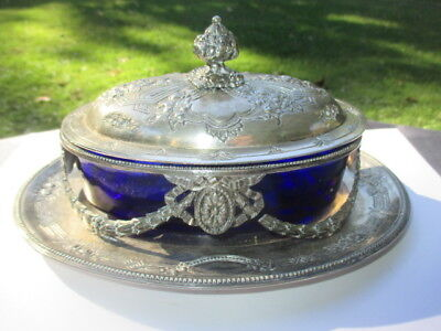 Regal Reproduction Of 1854 Victorian Silver Plate Butter Dish Cobalt Glass Liner