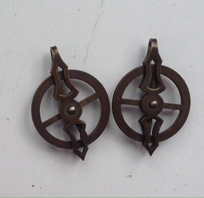 A Pair Of Original Brass Pulleys For Vienna Wall Clock