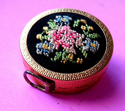 Vintage Gilt Metal Retractable Sewing Tape Measure,petit Point Embroidery Top