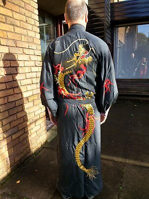 Black silk Japanese Kimono full length with embroidered dragons and red lining