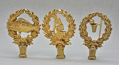 Three Vintage Trophy Decoration Made Of Gilded Brass