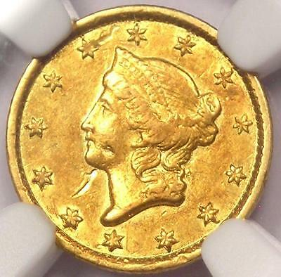 1853-C Liberty Gold Dollar G$1 - NGC AU Details -  Rare Charlotte Coin!