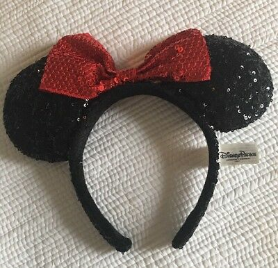 Minnie Mouse Official Sequin Headband Ears From Disney world Florida Red Bow
