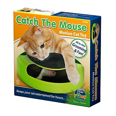 New Prime Paws Cat Kitten Catch The Mouse Plush Interactive Moving Play Toy