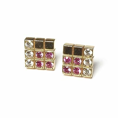 Cartier 18ct Gold Diamond and Pink Sapphire Earrings - Lanieres Piet