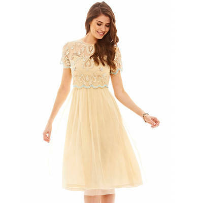 Frock and Frill Tiered Skater Dress Beige Embellished Party Size UK 12 Wedding