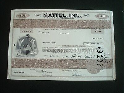 26th JAN 1971 MATTEL INC TOYS 100 SHARES CERTIFICATE (USED FOR DISPLAY ONLY)