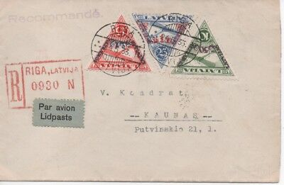 Latvia - 1933 Registered Air mail cover
