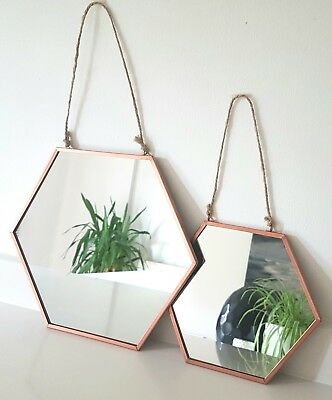 PAIR OF COPPER HANGING MIRROR Hexagonal Rustic Rope Rose Gold Modern On Trend