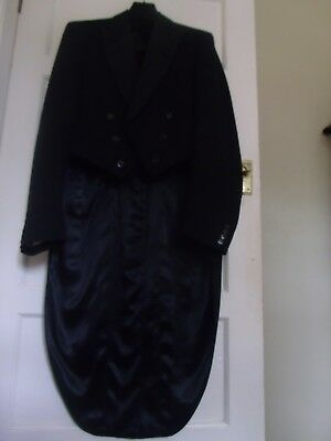 """vintage barathea wool formal EVENING TAIL COAT TAILS 44"""" - 46"""" and trousers"""