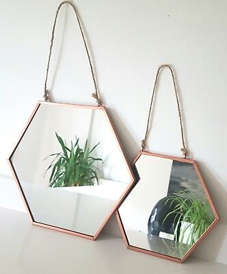 LARGE COPPER HANGING MIRROR Hexagonal Rustic Rope Rose Gold Modern On Trend