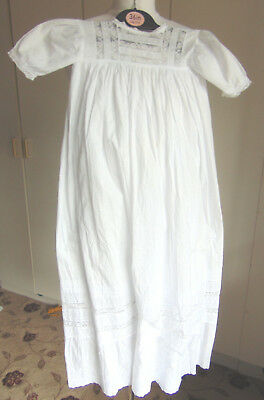 Antique cotton Christening Gown baby dress lace inset panels & embroidered hem
