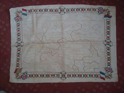WW1 CLOTH MAP ISSUE by MANCHESTER GUARDIAN of EUROPE AND RUSSIA 25 x20 INCHES