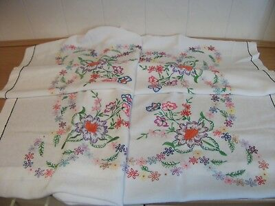Hand Embroidered Tablecloth - Flowers in Each Corner